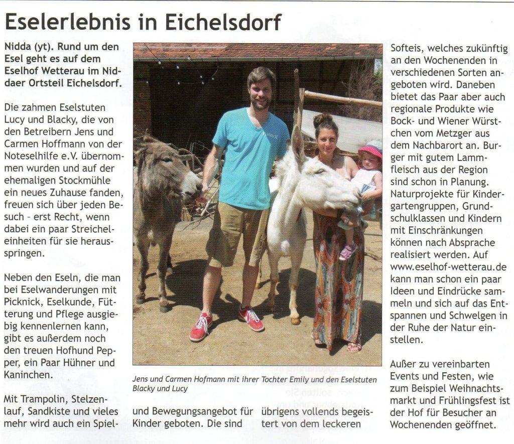 Artikel im Stadtjournal Nidda (Presse)