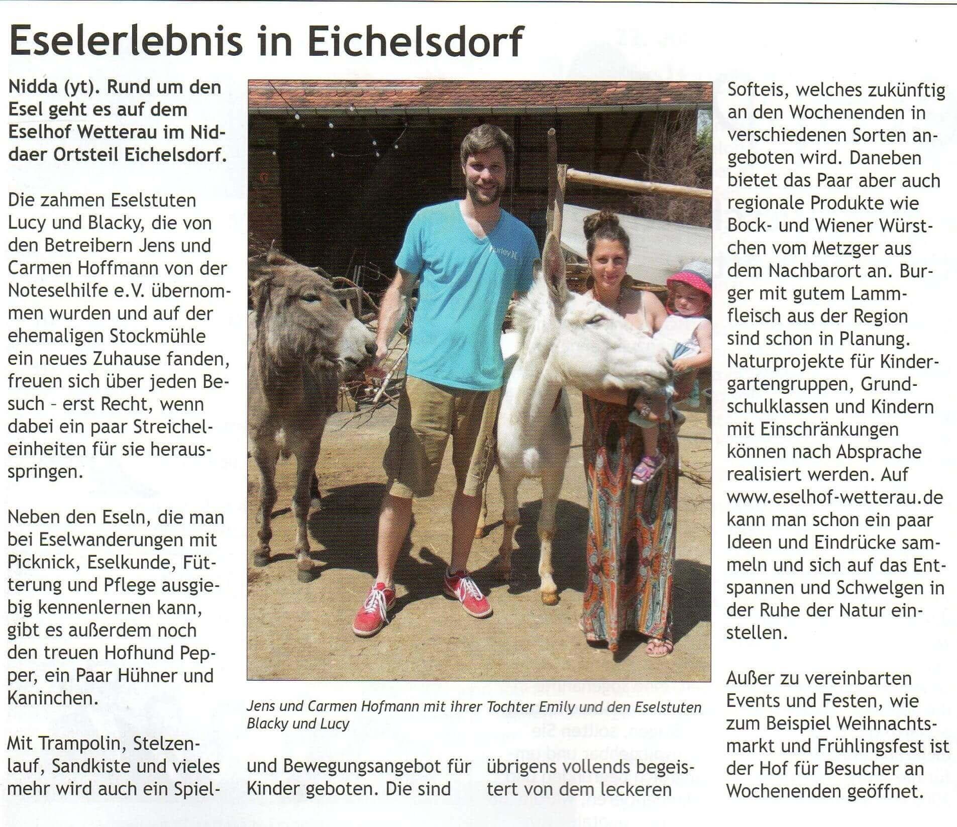 Artikel im Stadtjournal Nidda